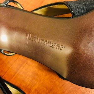 Naturalizer Shoes - Naturalizer Black Sling Backs with Cloth & Leather